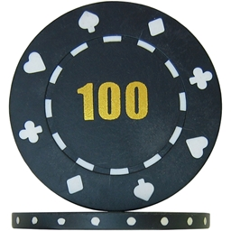 Budget Suited Numbered Poker Chips - Black 100 (Roll of 25)