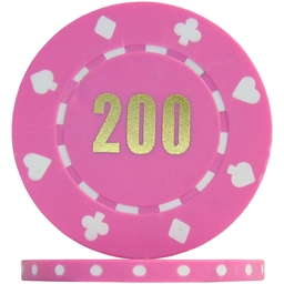 Budget Suited Numbered Poker Chips - Pink 200 (Roll of 25)