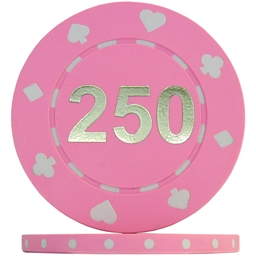 Suited Numbered Poker Chips - Pink 250 (Roll of 25)
