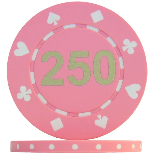 Suited Numbered Poker Chips - Pink 250 Matt (Roll of 25)