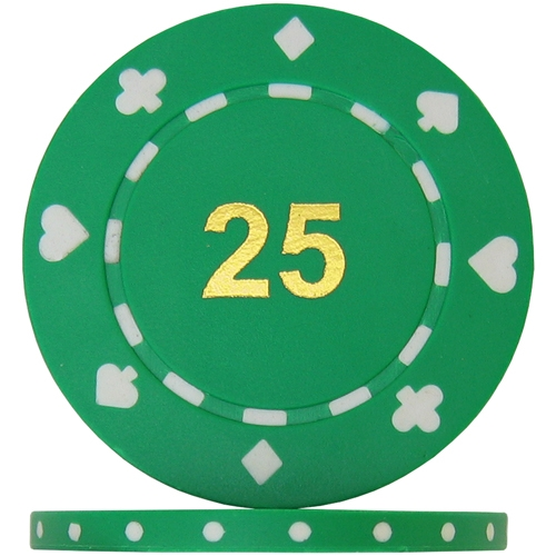 Suited Numbered Poker Chips - Green 25 (Roll of 25)