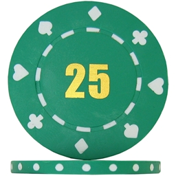 Budget Suited Numbered Poker Chips - Green 25 (Roll of 25)