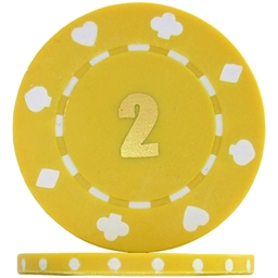 Budget Suited Numbered Poker Chips - Yellow 2 (Roll of 25)