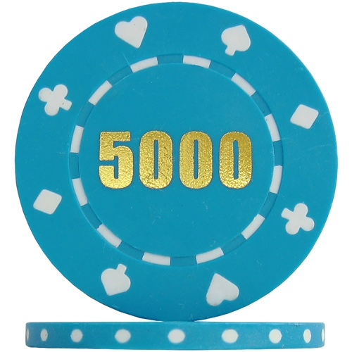 Suited Numbered Poker Chips - Light Blue 5000 (Roll of 25)