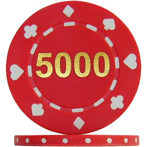 Suited Numbered Poker Chips - Red 5000 (Roll of 25)