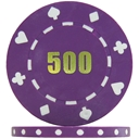 Budget Suited Numbered Poker Chips - Purple 500 (Roll of 25)