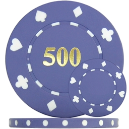 Suited Numbered Poker Chips - Purple 500 Single Side (Roll of 25)