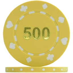 Suited Numbered Poker Chips - Yellow 500 ( Roll of 25)