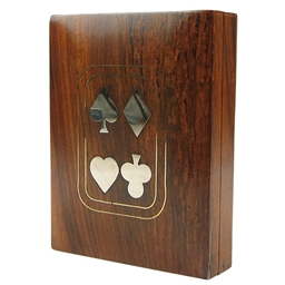 Teak Card Box with Metal Inlay