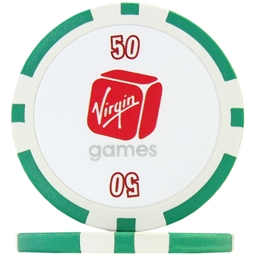 Virgin Numbered Poker Chips - Green 50 (Roll of 25)